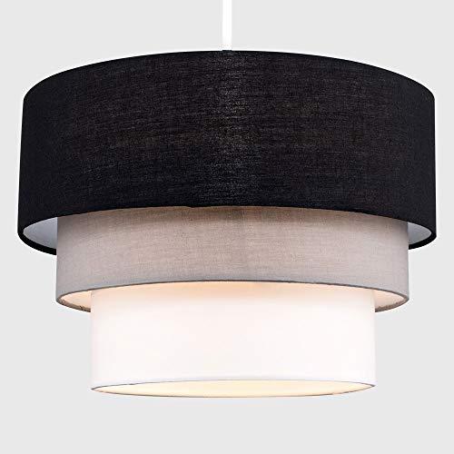 Beautiful Round Modern 3 Tier Black, Grey and White Fabric Ceiling Designer Pendant Lamp Light Shade 4