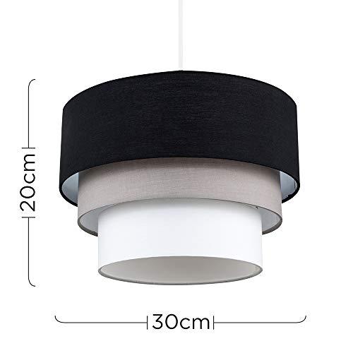 Beautiful Round Modern 3 Tier Black, Grey and White Fabric Ceiling Designer Pendant Lamp Light Shade 5