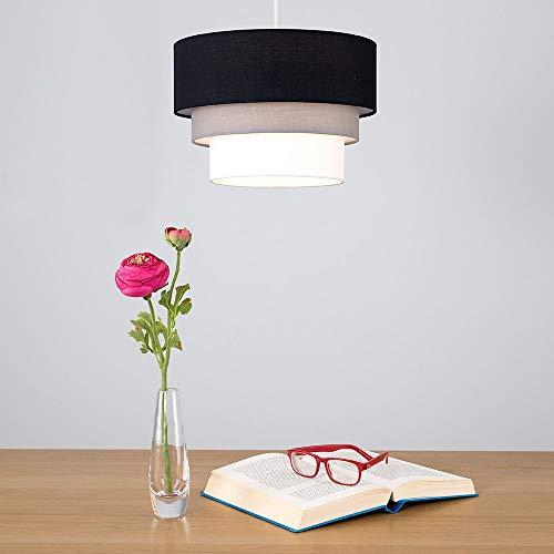 Beautiful Round Modern 3 Tier Black, Grey and White Fabric Ceiling Designer Pendant Lamp Light Shade 6