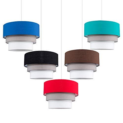 Beautiful Round Modern 3 Tier Black, Grey and White Fabric Ceiling Designer Pendant Lamp Light Shade 7