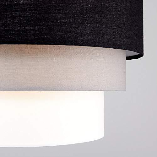 Beautiful Round Modern 3 Tier Black, Grey and White Fabric Ceiling Designer Pendant Lamp Light Shade 9