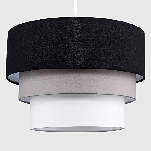 Beautiful Round Modern 3 Tier Black, Grey and White Fabric Ceiling Designer Pendant Lamp Light Shade 10