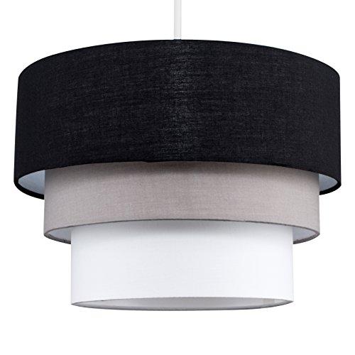 Beautiful Round Modern 3 Tier Black, Grey and White Fabric Ceiling Designer Pendant Lamp Light Shade 1
