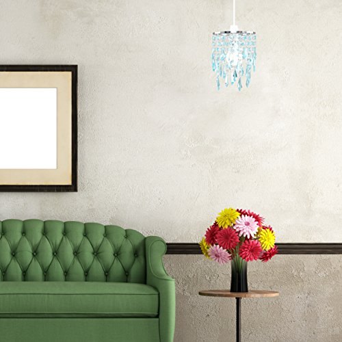 Elegant Chandelier Design Ceiling Pendant Light Shade with Beautiful Teal and Clear Acrylic Jewel Effect Droplets 3