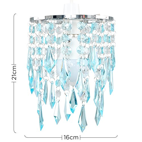 Elegant Chandelier Design Ceiling Pendant Light Shade with Beautiful Teal and Clear Acrylic Jewel Effect Droplets 4