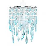 Elegant Chandelier Design Ceiling Pendant Light Shade with Beautiful Teal and Clear Acrylic Jewel Effect Droplets 17
