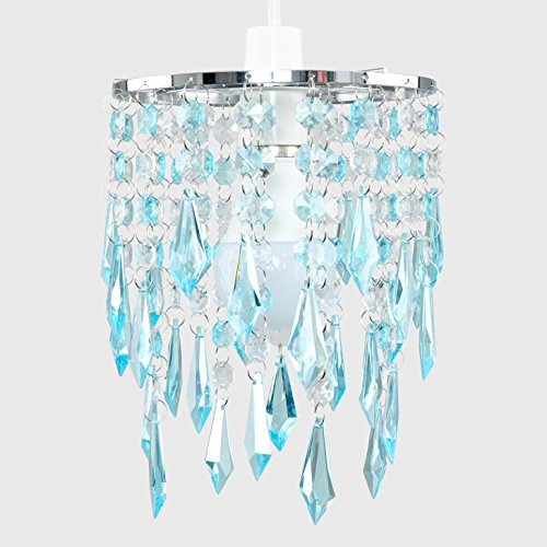 Elegant Chandelier Design Ceiling Pendant Light Shade with Beautiful Teal and Clear Acrylic Jewel Effect Droplets 5