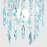 Elegant Chandelier Design Ceiling Pendant Light Shade with Beautiful Teal and Clear Acrylic Jewel Effect Droplets 21