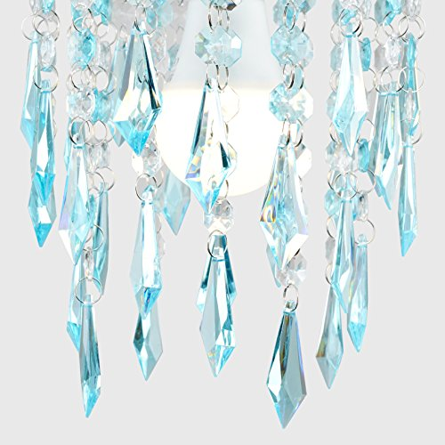 Elegant Chandelier Design Ceiling Pendant Light Shade with Beautiful Teal and Clear Acrylic Jewel Effect Droplets 6
