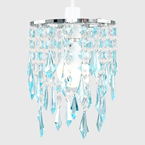 Elegant Chandelier Design Ceiling Pendant Light Shade with Beautiful Teal and Clear Acrylic Jewel Effect Droplets 7