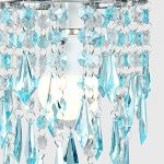 Elegant Chandelier Design Ceiling Pendant Light Shade with Beautiful Teal and Clear Acrylic Jewel Effect Droplets 23