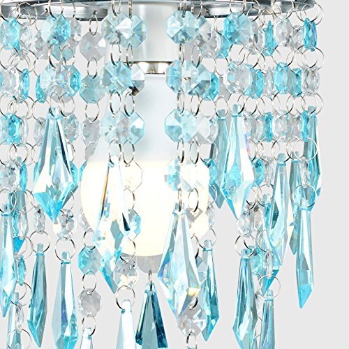 Elegant Chandelier Design Ceiling Pendant Light Shade with Beautiful Teal and Clear Acrylic Jewel Effect Droplets 8