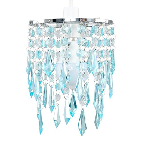 Elegant Chandelier Design Ceiling Pendant Light Shade with Beautiful Teal and Clear Acrylic Jewel Effect Droplets 1