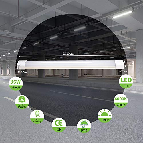 Airand LED Tube Light, 120 cm 4ft 36W LED IP66 Luminaire Workshop Light 4000K Waterproof Ceiling Light Natural White LED… 8