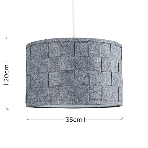 Pair of - Large Modern Weave Design Drum Ceiling Pendant Light Shades in a Grey Felt Finish 3