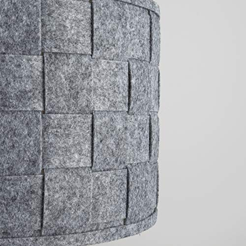 Pair of - Large Modern Weave Design Drum Ceiling Pendant Light Shades in a Grey Felt Finish 5