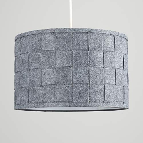 Pair of - Large Modern Weave Design Drum Ceiling Pendant Light Shades in a Grey Felt Finish 6