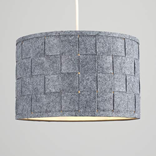 Pair of - Large Modern Weave Design Drum Ceiling Pendant Light Shades in a Grey Felt Finish 7