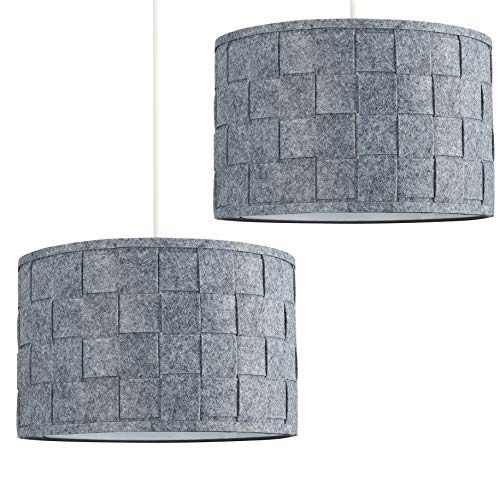 Pair of - Large Modern Weave Design Drum Ceiling Pendant Light Shades in a Grey Felt Finish 1