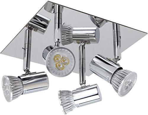 Frideko Modern Ceiling Spots Light - Square Chrome 4 Way Adjustable GU10 Ceiling Spotlight Adjustable LED Pendant… 1