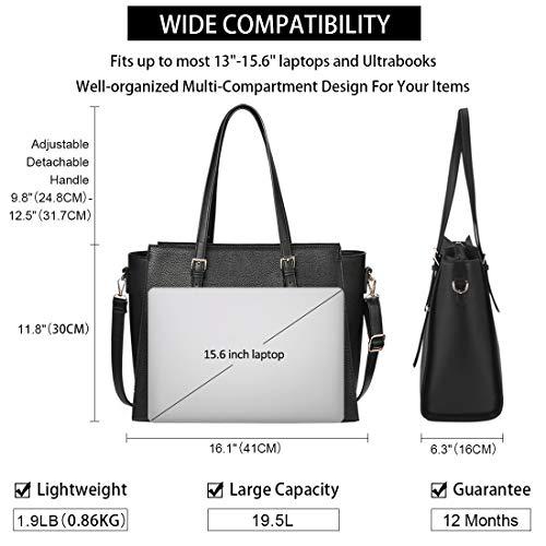 NEWHEY Laptop Bags for women Large Leather Handbags Ladies Laptop Tote Bag Business Work Shoulder Bag lightweight 15.6… 3