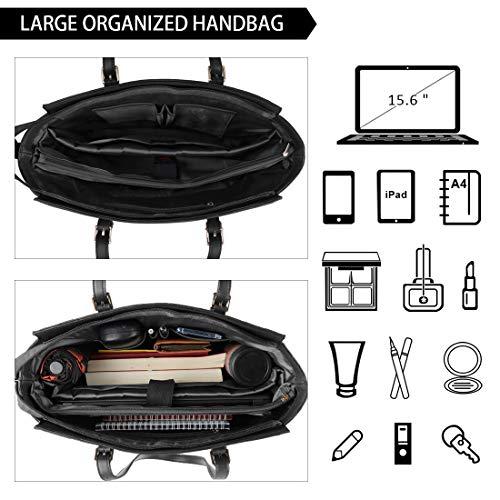 NEWHEY Laptop Bags for women Large Leather Handbags Ladies Laptop Tote Bag Business Work Shoulder Bag lightweight 15.6… 4