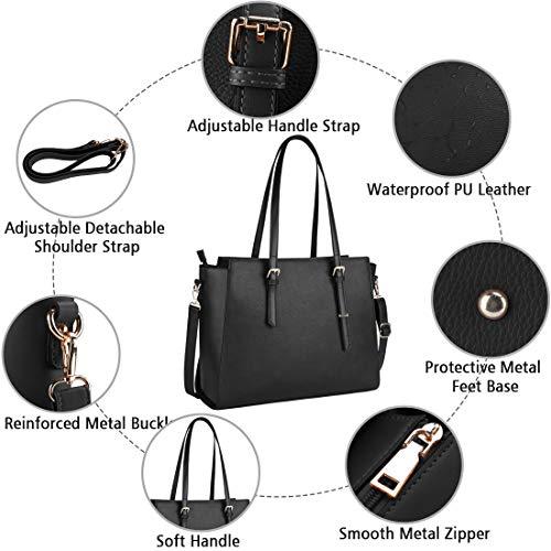 NEWHEY Laptop Bags for women Large Leather Handbags Ladies Laptop Tote Bag Business Work Shoulder Bag lightweight 15.6… 5