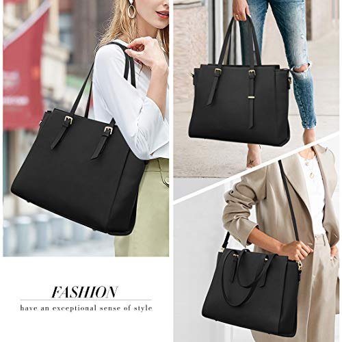 NEWHEY Laptop Bags for women Large Leather Handbags Ladies Laptop Tote Bag Business Work Shoulder Bag lightweight 15.6… 7