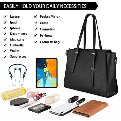 NEWHEY Laptop Bags for women Large Leather Handbags Ladies Laptop Tote Bag Business Work Shoulder Bag lightweight 15.6… 8