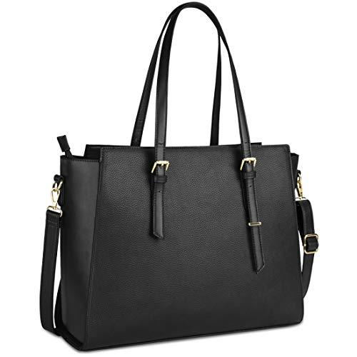 NEWHEY Laptop Bags for women Large Leather Handbags Ladies Laptop Tote Bag Business Work Shoulder Bag lightweight 15.6… 1