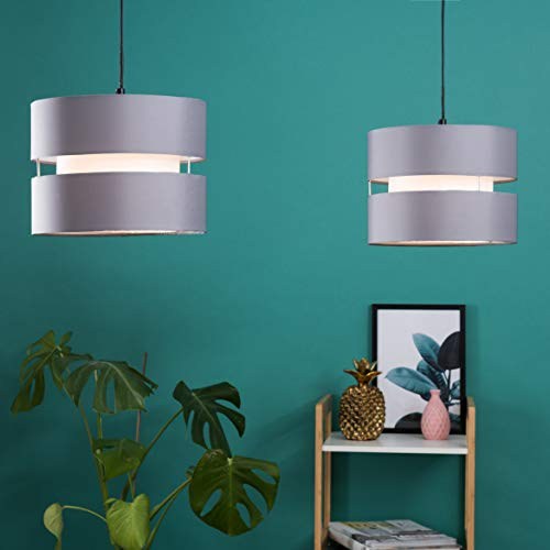 Pair of - Modern 2 Tier Cylinder Ceiling Pendant Light Shades in a Grey Finish - Complete with 10w LED GLS Bulbs [3000K… 3
