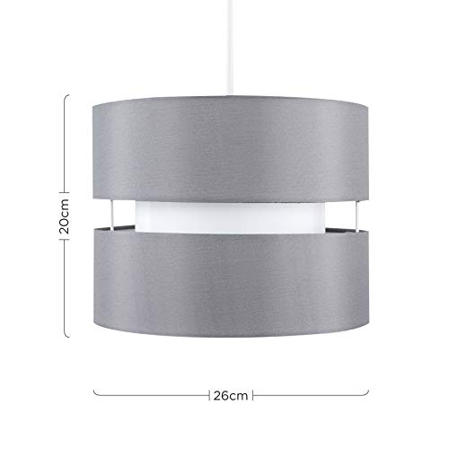 Pair of - Modern 2 Tier Cylinder Ceiling Pendant Light Shades in a Grey Finish - Complete with 10w LED GLS Bulbs [3000K… 5