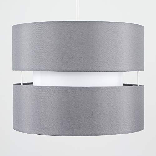 Pair of - Modern 2 Tier Cylinder Ceiling Pendant Light Shades in a Grey Finish - Complete with 10w LED GLS Bulbs [3000K… 6