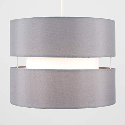 Pair of - Modern 2 Tier Cylinder Ceiling Pendant Light Shades in a Grey Finish - Complete with 10w LED GLS Bulbs [3000K… 7