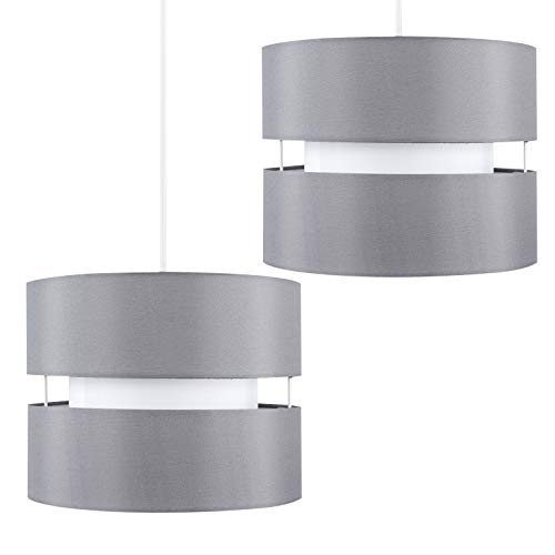 Pair of - Modern 2 Tier Cylinder Ceiling Pendant Light Shades in a Grey Finish - Complete with 10w LED GLS Bulbs [3000K… 2
