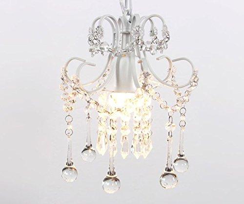 Surpars House Mini Style Crystal Chandelier Pendant Light, White,1-Light 4