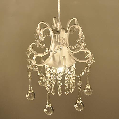 Surpars House Mini Style Crystal Chandelier Pendant Light, White,1-Light 5