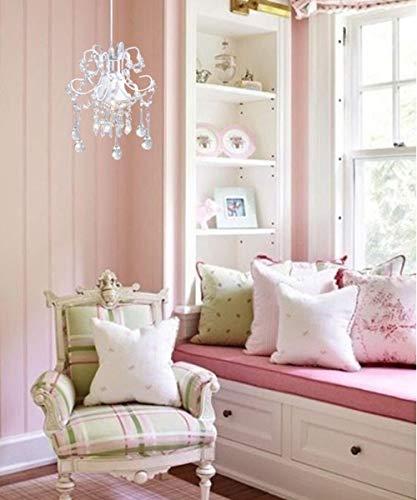 Surpars House Mini Style Crystal Chandelier Pendant Light, White,1-Light 6