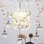 Surpars House Mini Style Crystal Chandelier Pendant Light, White,1-Light 22