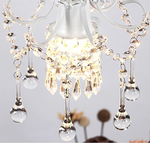 Surpars House Mini Style Crystal Chandelier Pendant Light, White,1-Light 7