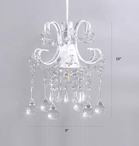 Surpars House Mini Style Crystal Chandelier Pendant Light, White,1-Light 8