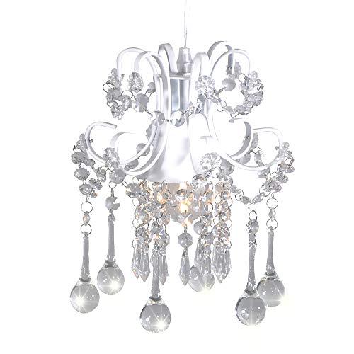Surpars House Mini Style Crystal Chandelier Pendant Light, White,1-Light 1