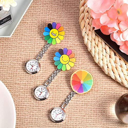 3 Pieces Sunflower Nurse Fob Watch, Hanging Doctor Pocket Watch with Fixed Clip Pin Brooch for Women Doctor Nurse… 5