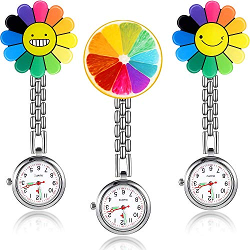 3 Pieces Sunflower Nurse Fob Watch, Hanging Doctor Pocket Watch with Fixed Clip Pin Brooch for Women Doctor Nurse… 1