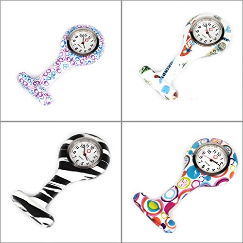 4pcs Silicone Nurse Watch Doctor Medical Staff Lapel Pin-on Brooch Hanging Pocket Fob Watch (1) 3