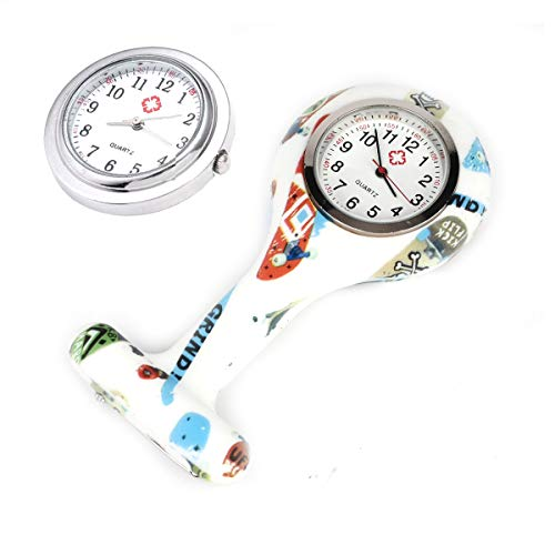 4pcs Silicone Nurse Watch Doctor Medical Staff Lapel Pin-on Brooch Hanging Pocket Fob Watch (1) 4