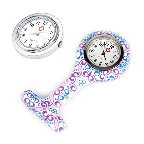 4pcs Silicone Nurse Watch Doctor Medical Staff Lapel Pin-on Brooch Hanging Pocket Fob Watch (1) 8