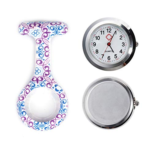 4pcs Silicone Nurse Watch Doctor Medical Staff Lapel Pin-on Brooch Hanging Pocket Fob Watch (1) 9