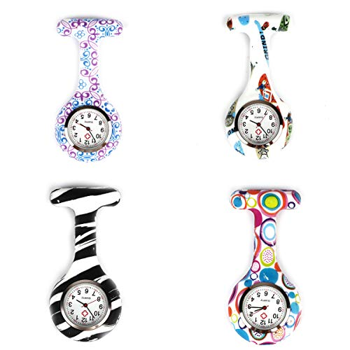 4pcs Silicone Nurse Watch Doctor Medical Staff Lapel Pin-on Brooch Hanging Pocket Fob Watch (1) 1
