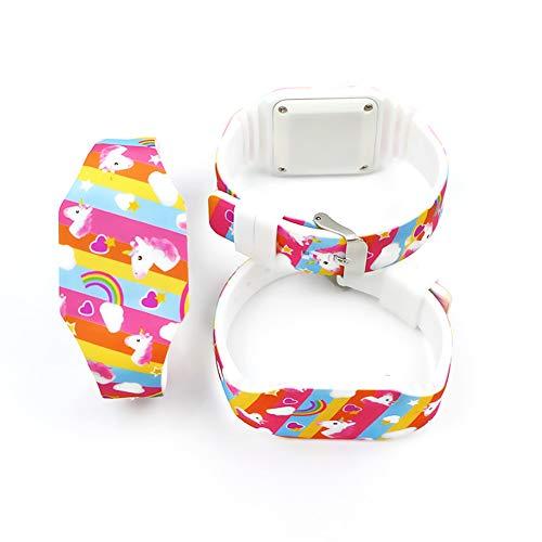 AIUIN 1X Boys Girls LED Sport Watch Child Casual Smart Watch Silicone Rainbow Unicorn Pattern Student Gift Wrist… 8